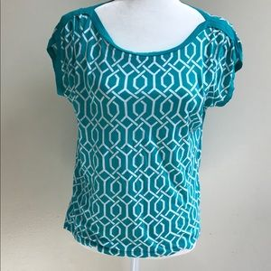 Stylus woman's top teal/white size small